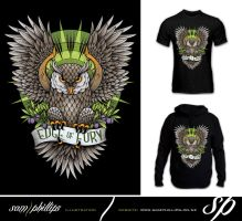 Edge of fury Owl Tattoo Tshirt by Sam-Phillips-NZ