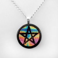 Rainbow Fused Dichroic Glass Pentacle Pendant by poisons-sanity
