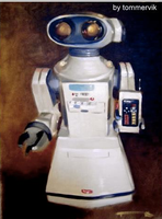 vintage robot toy painting by TOMMERVIK