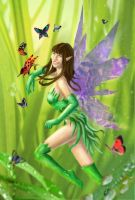 Green Fairy with butterflies by Dinoforce