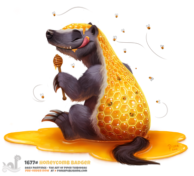 Daily Painting 1677# Honeycomb Badger by Cryptid-Creations