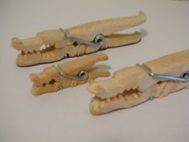Whittled Crocodile Family by siegeandspike