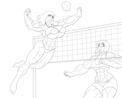 Comet Girl and Cindy Playing Volleyball by kittyelfie