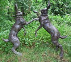 Stock - Boxing Hares Statue by OghamMoon