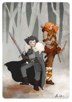 You come to the wrong wall! Jon and Ygritte by saetiz
