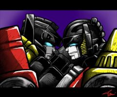Sideswipe and Sunstreaker by Colza666