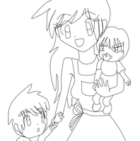 Reggie and Paul's mother lineart by leafyloo