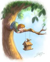 Birdhouse and me- sabrane by childrensillustrator