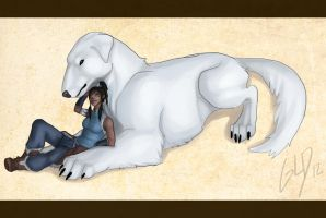 My best friend -Korra and Naga- by Galidor-Dragon
