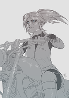 COMMISSION - Claire Redfield + Bike Sketch by R62