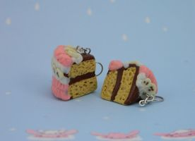 Strawberry Banana Choclacate Cake Earrings by kicat