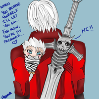 Chibi Vergil all tied up by veggwhale