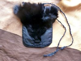 Black fox and leather pouch by lupagreenwolf