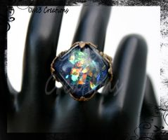 Dark Blue Faux Diochroic Ring by kelleejm1