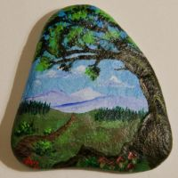 Old tree with mushrooms - rock painting by Annamoon77