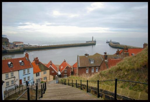 Whitby's Steps to the Abbey by moonhare77