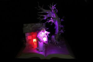 Wizard and Glass Book Sculpture LIT by wetcanvas