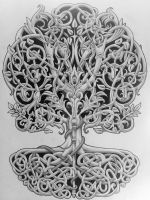 Tree of life with rod and snake by Tattoo-Design