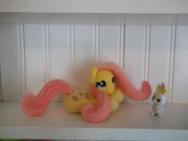 Fluttershy lying down needle felted plush 2 by imaginaryfriends2012