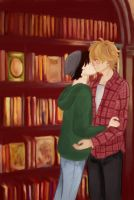 Enjolras and Grantaire in a bookstore by AnnaWinchester