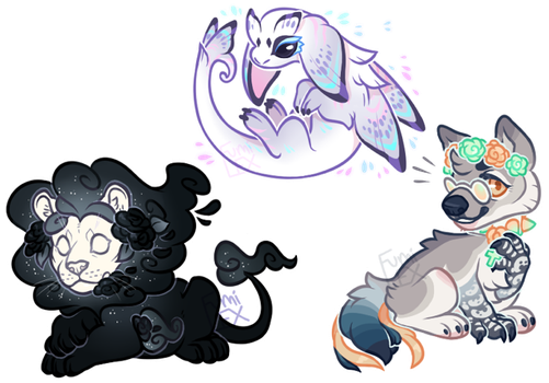Mini sticker style comms - chibi examples by Fumi-LEX