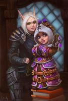 Blood Elf and Gnome by lowly-owly