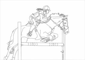 Show Jumping lineart by Luovaa