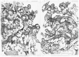 Double Page_Marvel vs DC by MARCIOABREU7