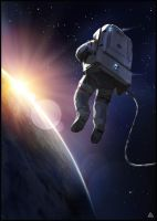space suit sunset by jamga