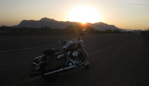Arizona Sunrise with bike 072614 05 by acurmudgeon