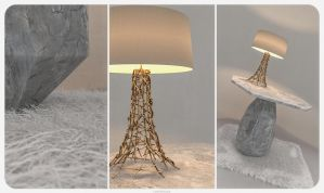 side table Rock with Grazia lamp by CrowInHand