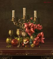 Still life with candlestick by IgnisFatuusII