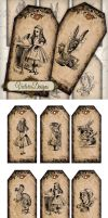 Printable Alice in Wonderland Tags by VectoriaDesigns