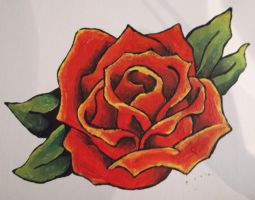 Red rose painting by BossHossBones