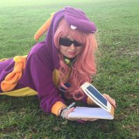 Reading the Guidebook (Spyro Cosplay) by KrazyKari