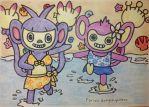 Aipom and Ambipom: Fun at the beach by dengekipororo