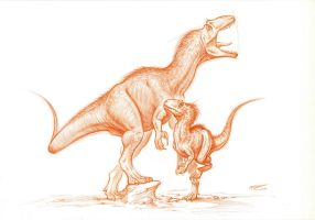 Allosaurus-adult and juvenile by PaleoPastori