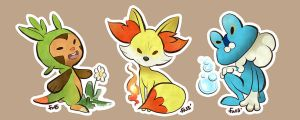 Pokemon Gen VI starter stickers