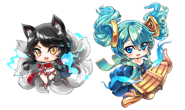 Ahri and Sona by hmongt