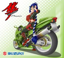 Misato and her Suzuki by Acdnoodles