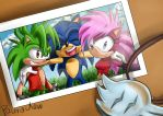 Sonic with sister and brother by paurachan