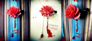 Psycho Bloody Rose Hairclip by Verope