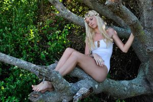 Kahli - white fairy in tree 2 by wildplaces