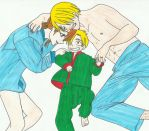 Sanji and Nami with their son by zlizroswell