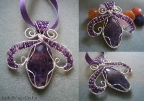 Amethyst Glass Wire Wrapped Pendant by LadyBelugaCrafts