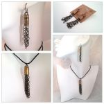 Chain Fringe Bullet Shell Pendant Earring Set by WinterFlightDesign