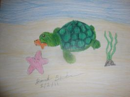 Sea turtle eating a fish by hannahbanana1997