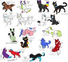 cat dog wolf adoptables by Fluff-butts
