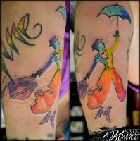 Mary Poppins Watercolor Tattoo by KrisiKonvict