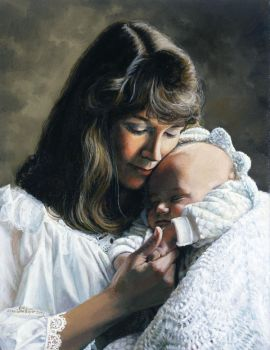 Madonna and Baby in White by SheriLynn